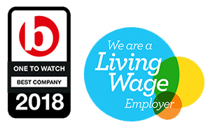 'Best company' and 'Living Wage' logos