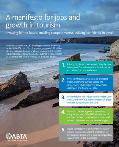 A manifesto for jobs and growth in tourism