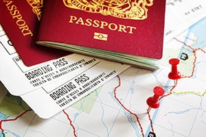 Passport with travel tickets